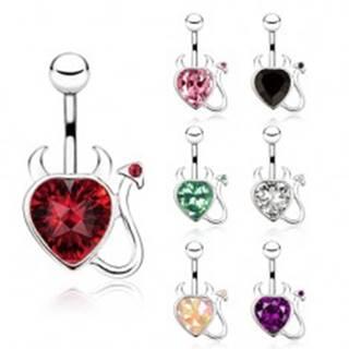 Oceľový piercing do bruška, zirkónové srdce s chvostíkom a rohmi - Farba zirkónu: Červená - R