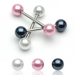 Oceľový piercing do jazyka s farebnými perleťovými guličkami - Farba piercing: Biela