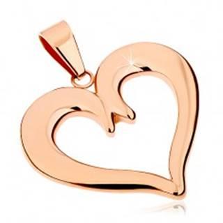Oceľový prívesok v medenom odtieni, kontúra súmerného srdca, lesklý povrch