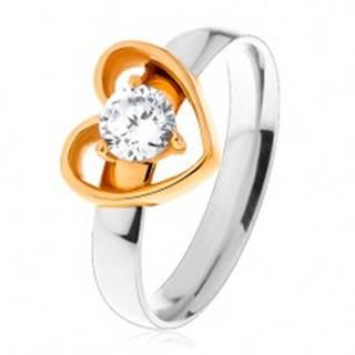 Oceľový prsteň - dvojfarebné prevedenie, tenká kontúra srdca, okrúhly číry zirkón - Veľkosť: 49 mm