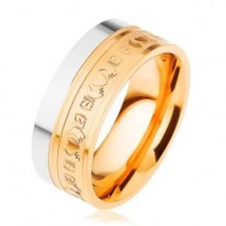 Oceľový prsteň, dvojfarebný - strieborný a zlatý odtieň, ornamenty, 8 mm - Veľkosť: 54 mm