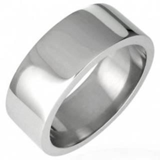 Oceľový prsteň lesklý, rovný s hranou 8 mm - Veľkosť: 51 mm