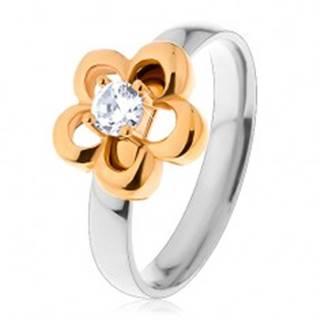 Oceľový prsteň v dvojfarebnom prevedení, obrys kvetu s vyvýšeným čírym zirkónom - Veľkosť: 49 mm