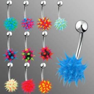 Piercing do brucha so silikónovým farebným ježkom - Farba piercing: Čierna - Modrá - Ružová
