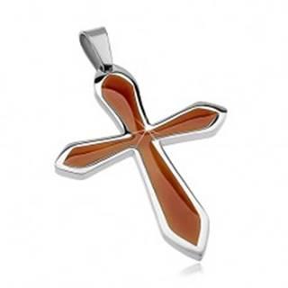 Prívesok z chirurgickej ocele v tvare kríža s hnedou glazúrou