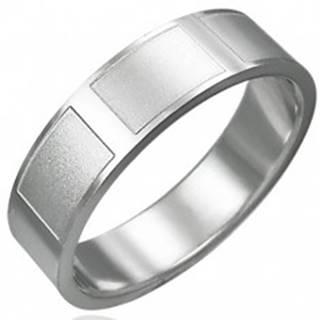 Prsteň z chirurgickej ocele lesklý matné obdĺžniky - Veľkosť: 54 mm
