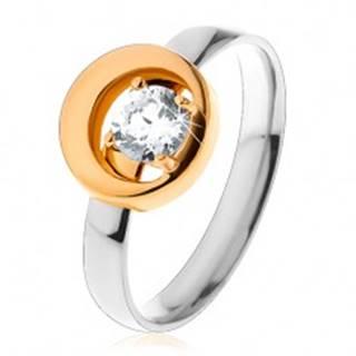 Prsteň z ocele 316L, okrúhly číry zirkón v kruhu s výrezom, dvojfarebný - Veľkosť: 49 mm