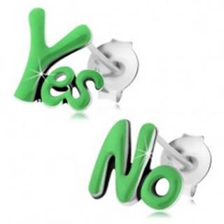 Puzetové náušnice zo striebra 925, patinované slová Yes a No, zelená glazúra