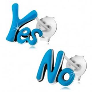 Puzetové náušnice zo striebra 925, slová Yes a No, tmavomodrá glazúra, patina