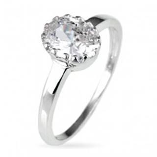 Snubný prsteň zo striebra 925 - oválny zirkón v korunke - Veľkosť: 50 mm