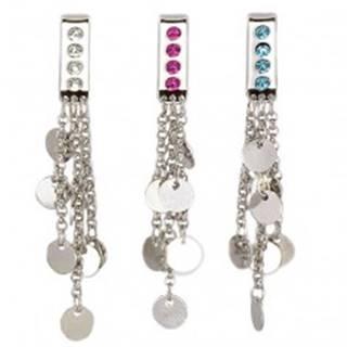Šperk na plavky - visiace krúžky na retiazkach - Farba zirkónu: Aqua modrá - Q