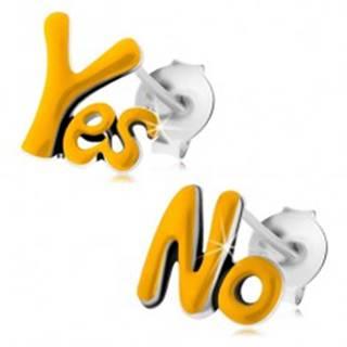 Strieborné 925 náušnice, patinované nápisy Yes a No, žltá glazúra