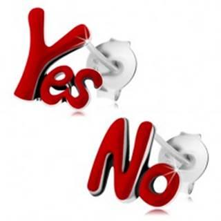 Strieborné náušnice 925, patinované nápisy Yes a No, červená glazúra, puzetky
