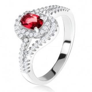 Strieborný 925 prsteň, červený kameň s lemom, zvlnené zirkónové ramená - Veľkosť: 49 mm