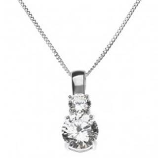 Strieborný náhrdelník - dva veľké číre zirkóny na retiazke, striebro 925