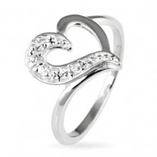 Strieborný prsteň 925 - nepravidelné srdce so zirkónovou polovicou - Veľkosť: 49 mm