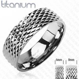 Titánová obrúčka vzor hadia koža - Veľkosť: 51 mm