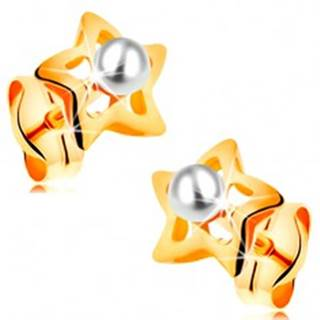 Zlaté 14K náušnice - ligotavé hviezdičky s bielou perličkou v strede