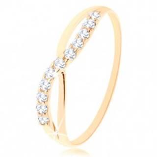 Zlatý prsteň 585 - hladká a trblietavá vlnka z okrúhlych čírych zirkónikov - Veľkosť: 49 mm
