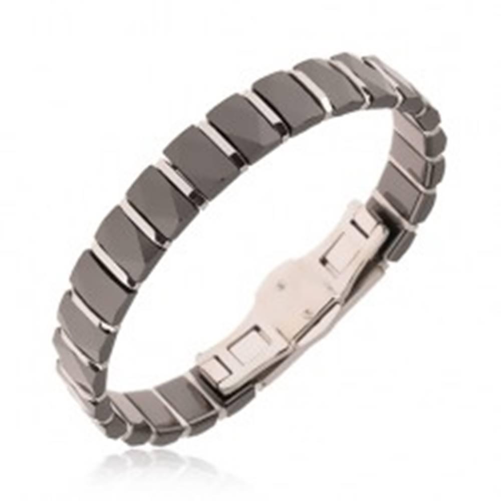 Šperky eshop Čierny keramický náramok, brúsené podlhovasté články, oceľové prúžky