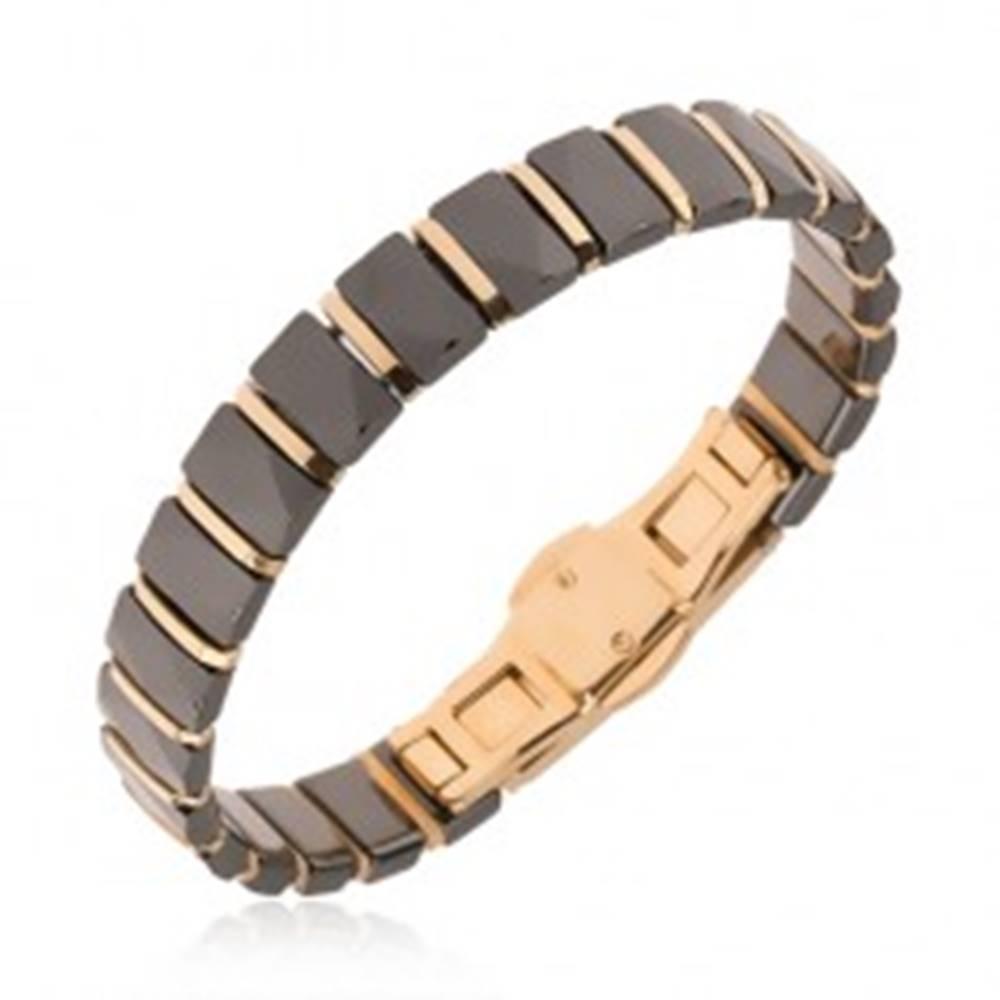 Šperky eshop Čierny náramok z obdĺžnikových keramických článkov, prúžky zlatej farby
