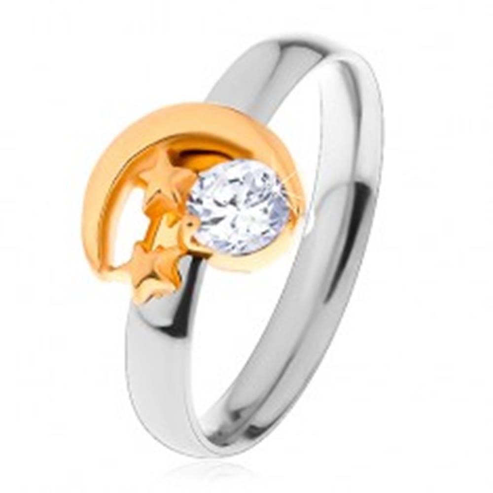 Šperky eshop Dvojfarebný prsteň z ocele 316L, cíp mesiaca, dve malé hviezdy a číry zirkón - Veľkosť: 49 mm