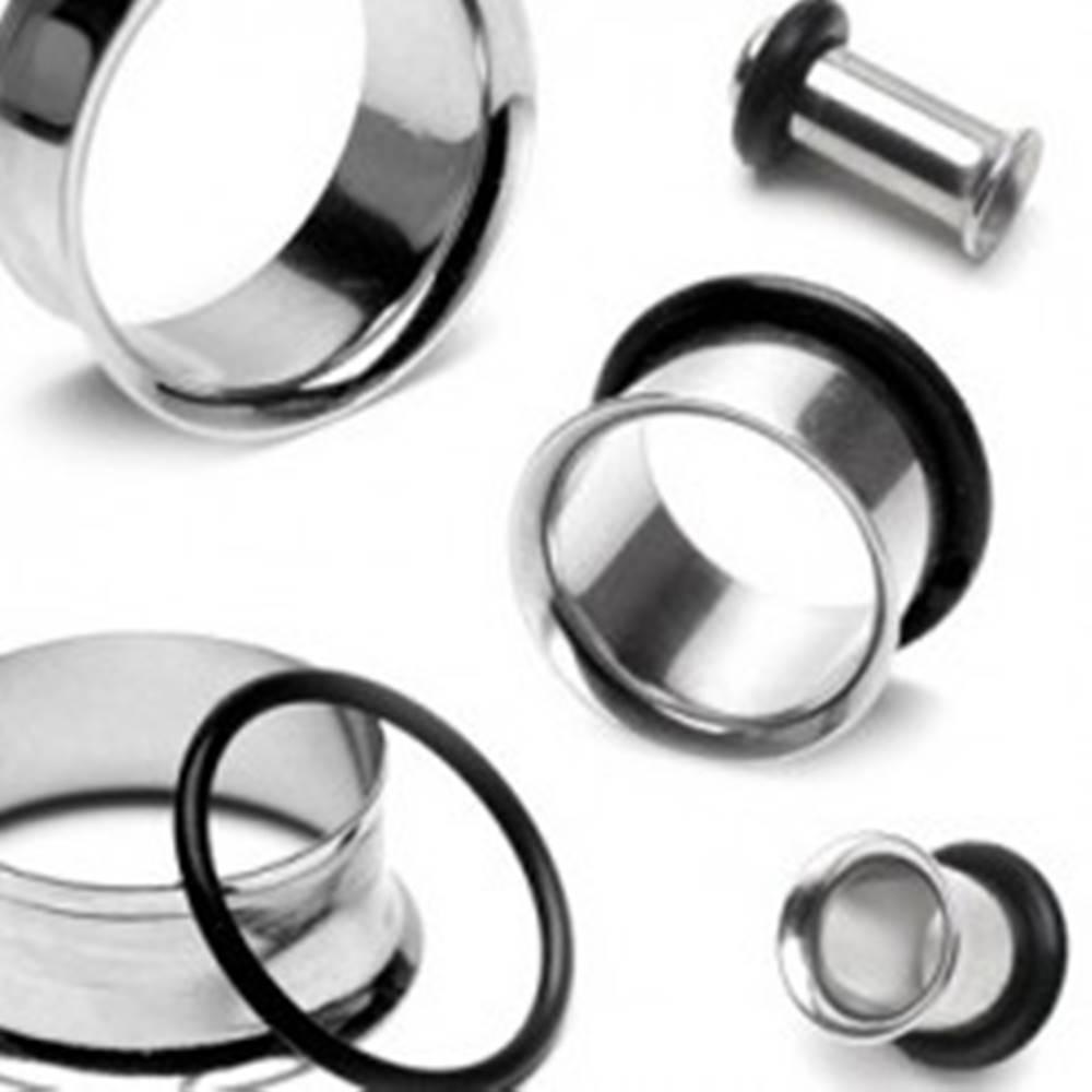 Šperky eshop Lesklý oceľový tunel do ucha s čiernou gumičkou - Hrúbka: 10 mm