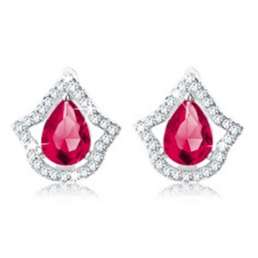 Šperky eshop Ligotavé strieborné 925 náušnice, tmavoružová kvapka, číry zirkónový lem