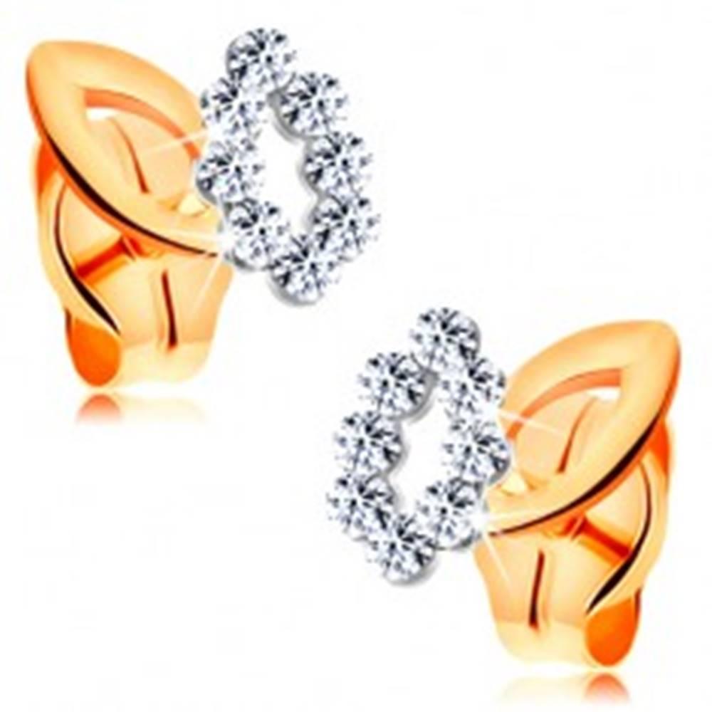 Šperky eshop Ligotavé zlaté náušnice 585 - obrysy dvoch malých lístkov, dvojfarebné prevedenie