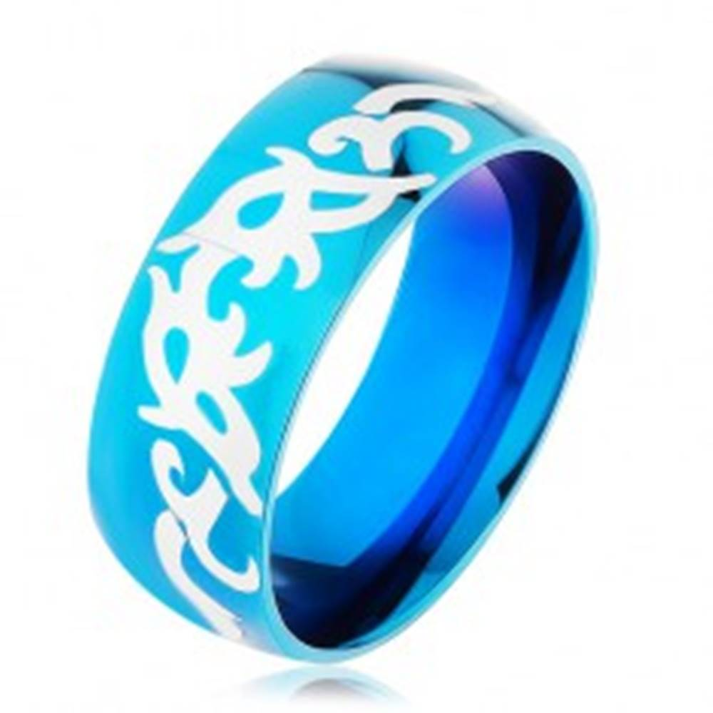 Šperky eshop Modrá obrúčka z ocele 316L, lesklý hladký povrch s kmeňovými vzormi - Veľkosť: 57 mm