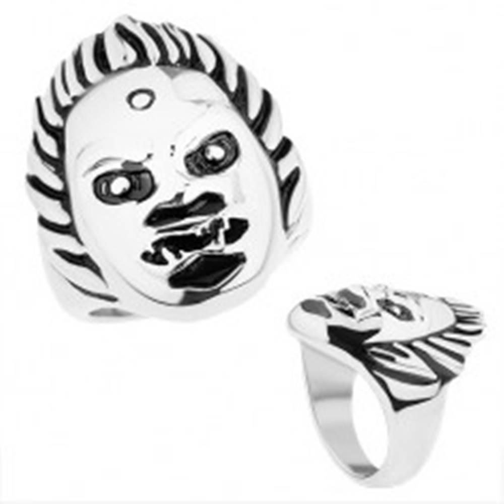 Šperky eshop Mohutný oceľový prsteň, lesklý povrch, tvár démona, strieborný odtieň - Veľkosť: 59 mm