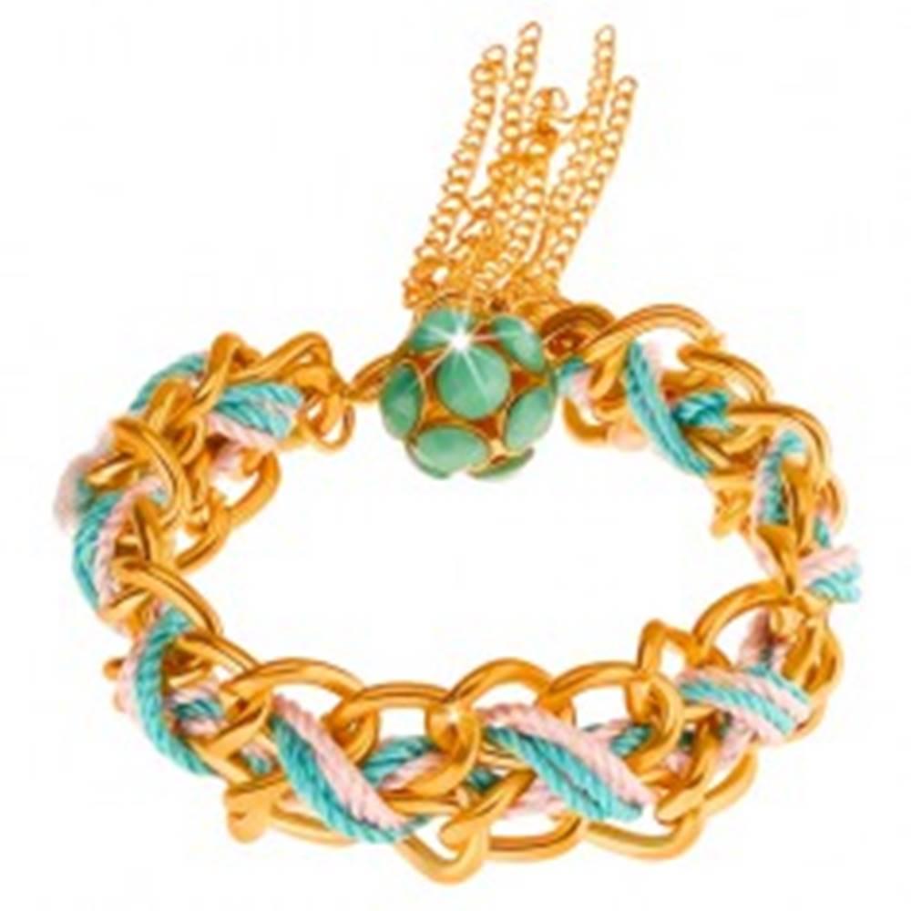 Šperky eshop Náramok, dvojitá retiazka, modrá a ružová šnúrka, korálky zelenej farby