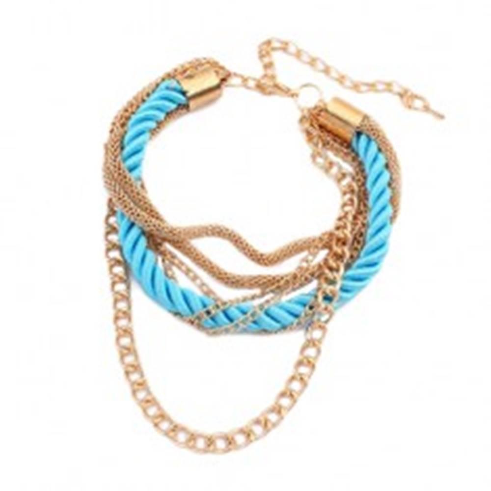 Šperky eshop Náramok na ruku - zatočená tyrkysová špirála zo šnúrok, retiazky zlatej farby