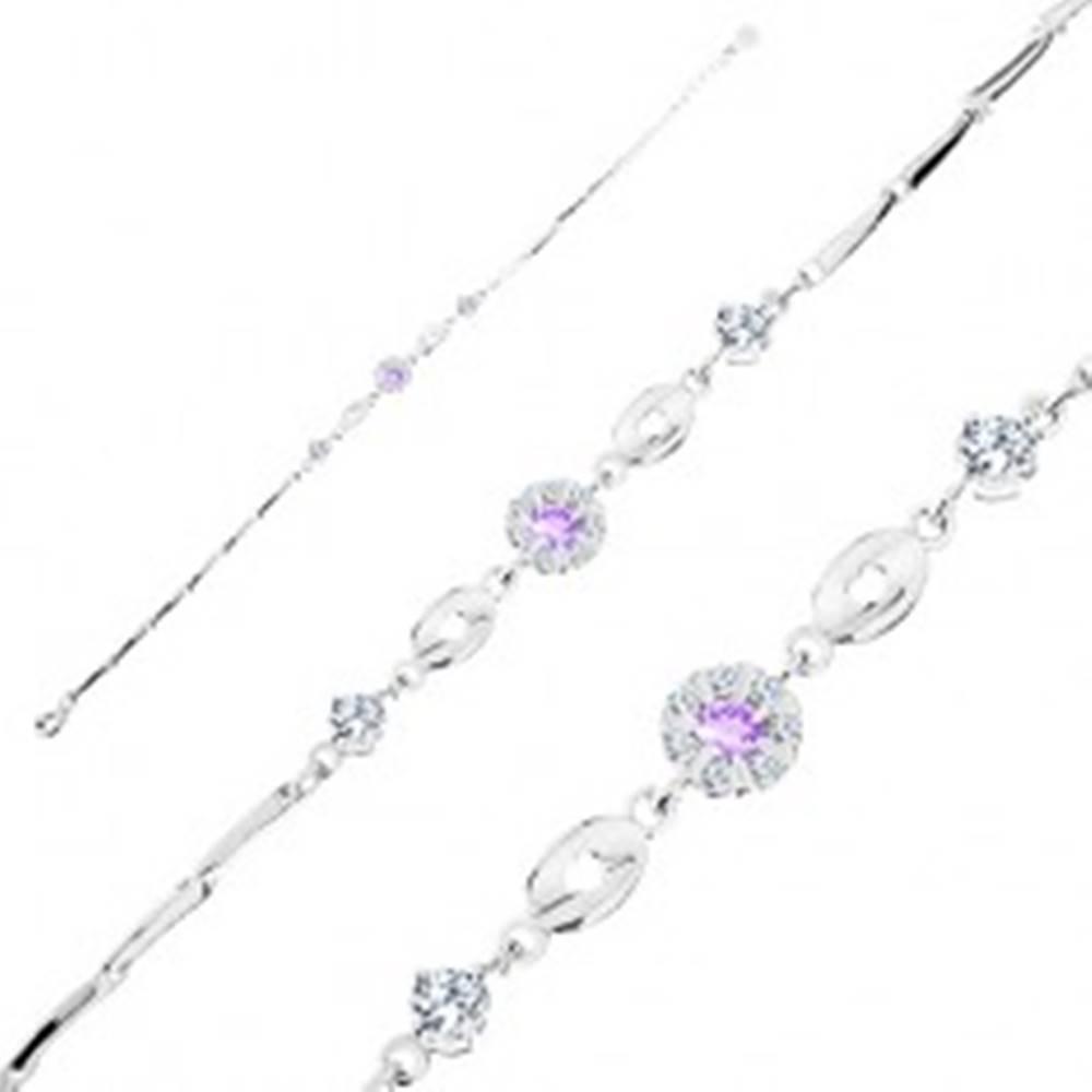 Šperky eshop Náramok zo striebra 925, fialovo-číry zirkónový kvet, lesklé ovály, číre zirkóny