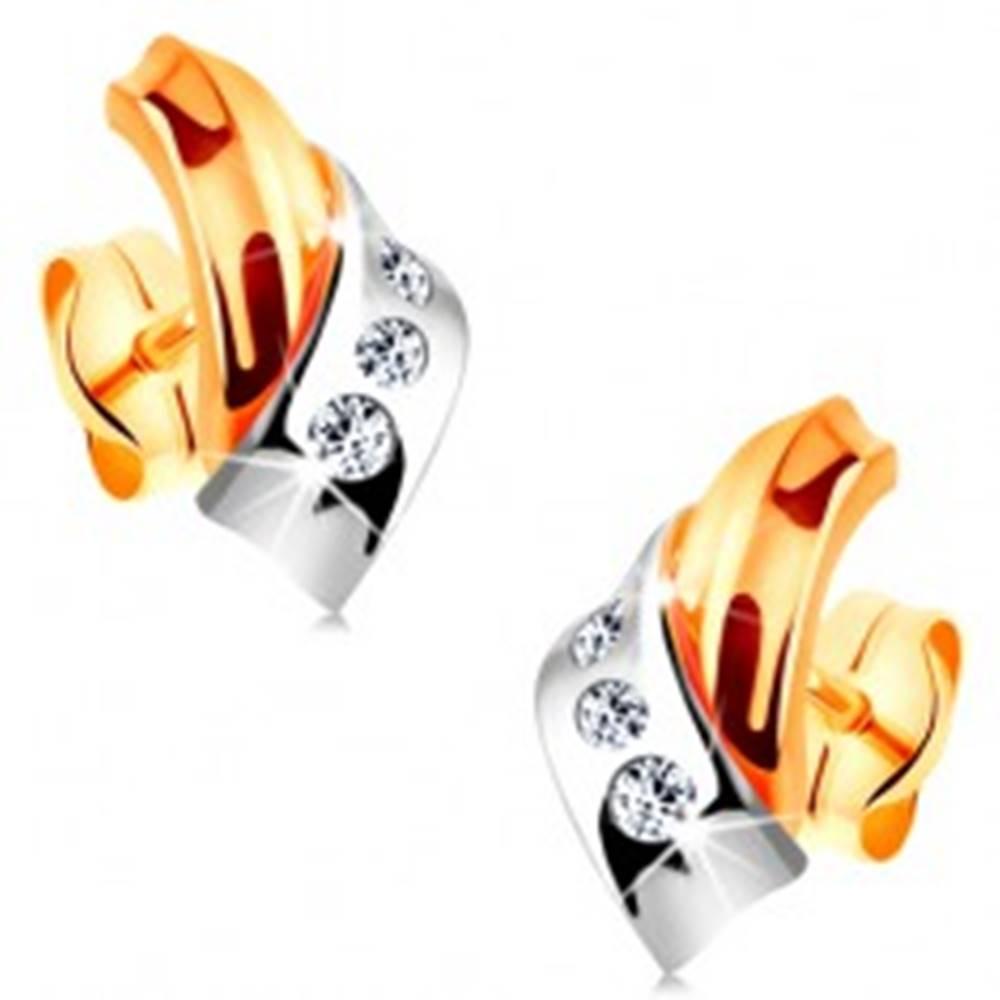 Šperky eshop Náušnice v 14K zlate - prelínajúce sa dvojfarebné oblúky, pás drobných zirkónov