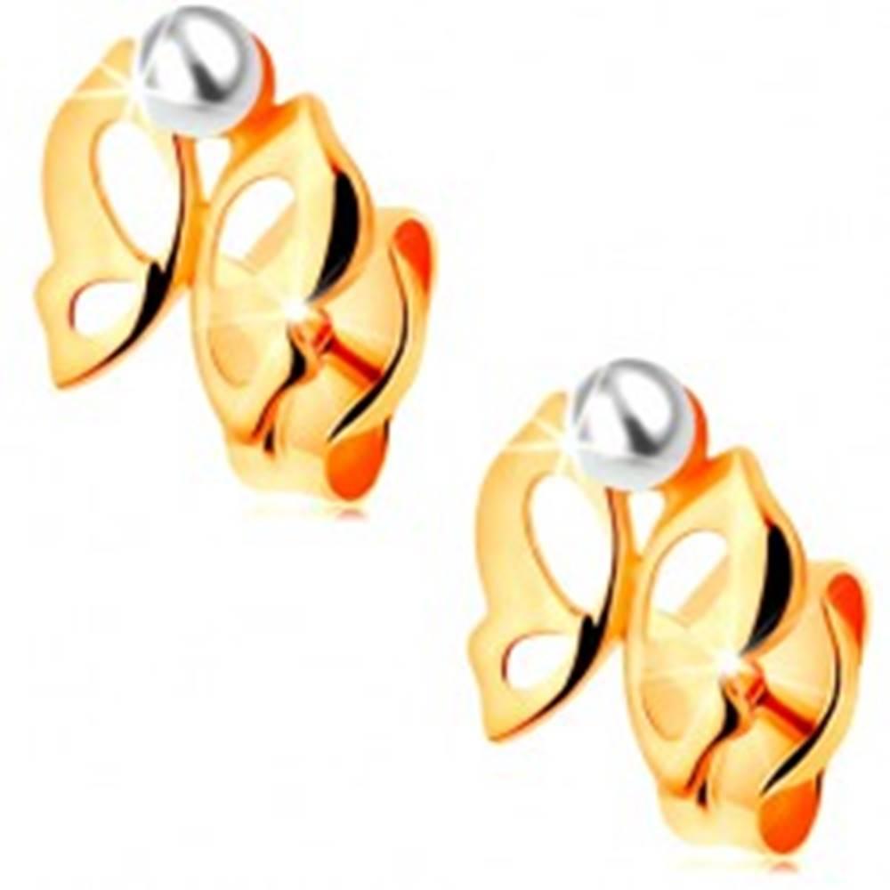 Šperky eshop Náušnice v žltom 14K zlate - lesklý vyrezávaný motýlik, perlička bielej farby