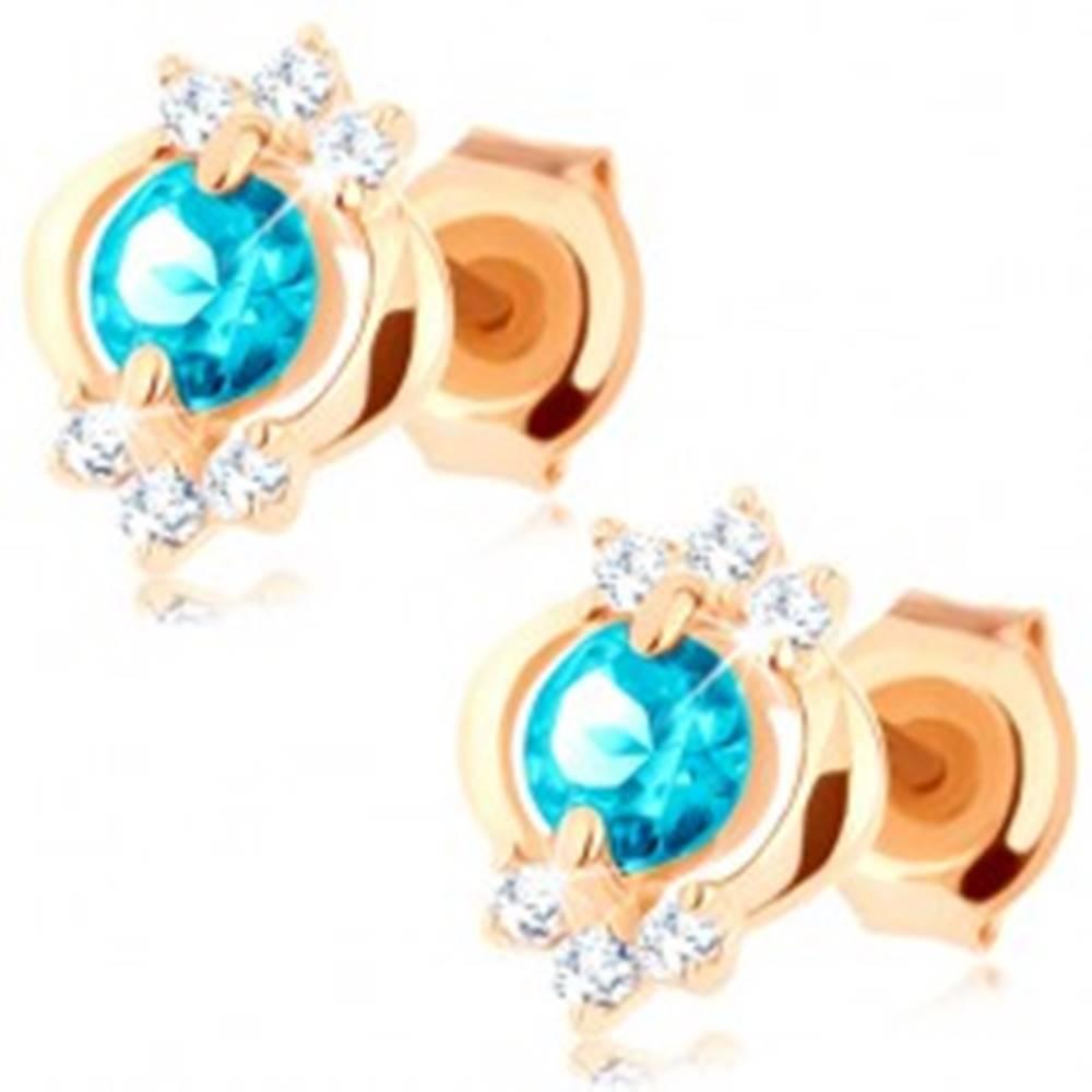 Šperky eshop Náušnice v žltom 9K zlate - okrúhly modrý topás, lesklý elipsovitý obrys