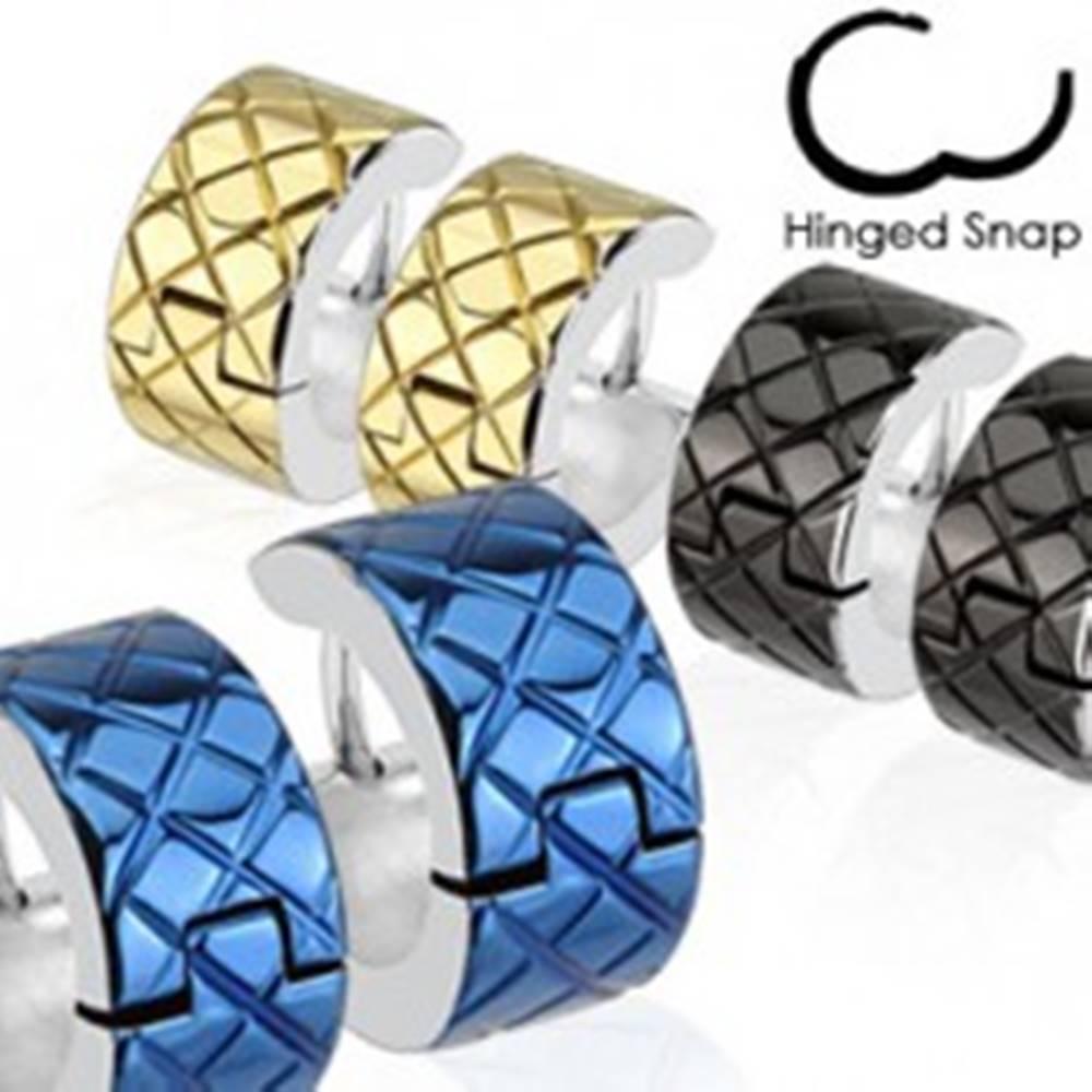 Šperky eshop Náušnice z chirurgickej ocele - farebné kruhy s lemom striebornej farby - Farba: Čierna