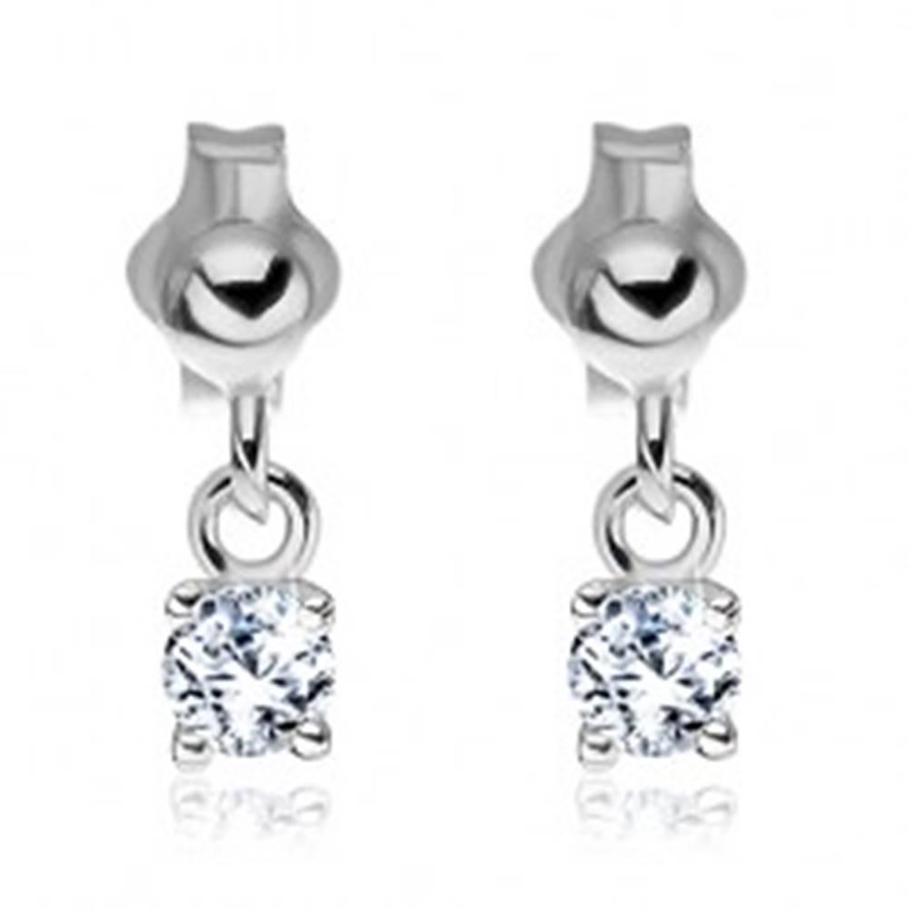Šperky eshop Náušnice zo striebra 925 - číry zirkón visiaci na puzetke, 3 mm