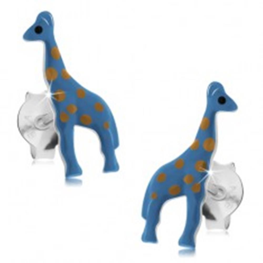 Šperky eshop Náušnice zo striebra 925, modrá žirafa so svetlohnedými bodkami, puzetky