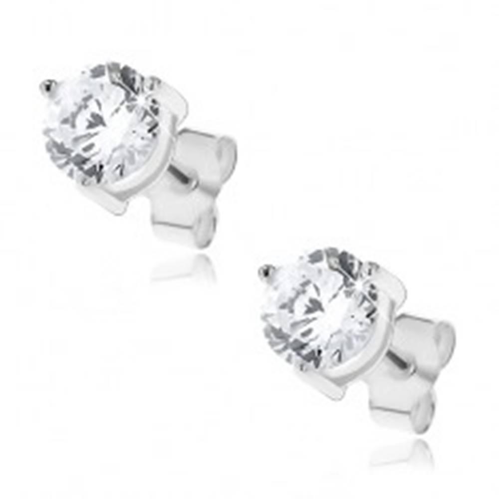 Šperky eshop Náušnice zo striebra 925 - zirkón uchytený tromi paličkami, 5 mm