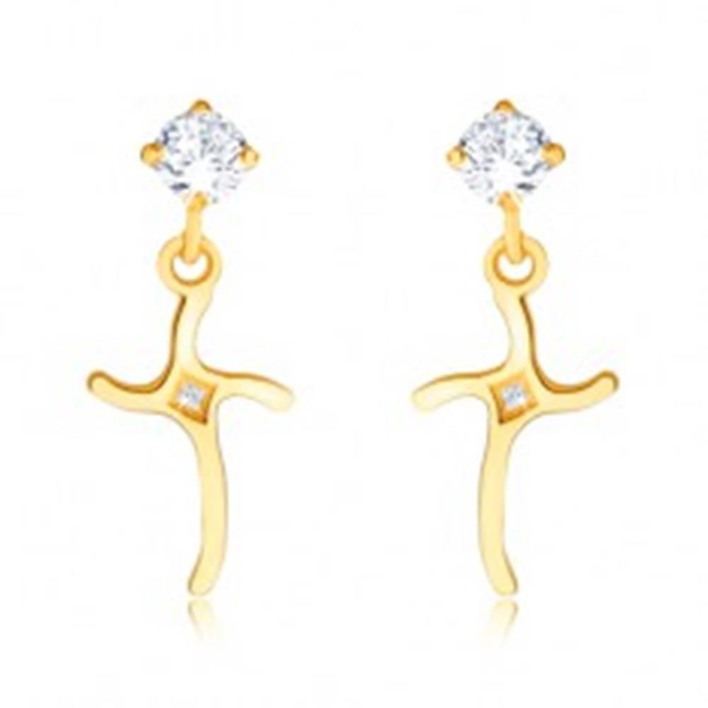 Šperky eshop Náušnice zo žltého 14K zlata - visiaci krížik, zvlnené ramená, kamienok