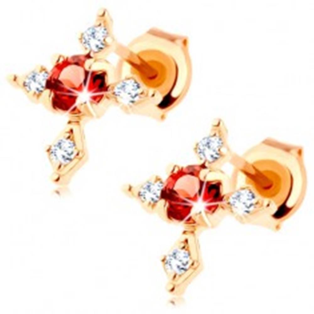 Šperky eshop Náušnice zo žltého 9K zlata - kríž s čírymi zirkónovými ramenami, červený granát