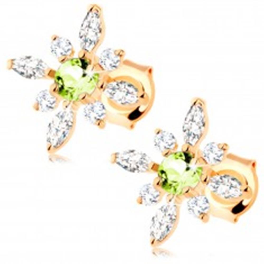 Šperky eshop Náušnice zo žltého 9K zlata - kvietok z čírych zirkónov a zeleného olivínu