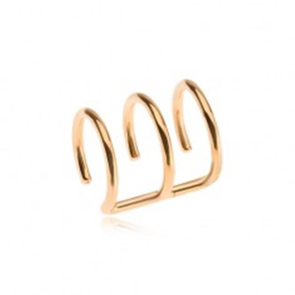 Šperky eshop Oceľový fake piercing do ucha zlatej farby, trojitý krúžok