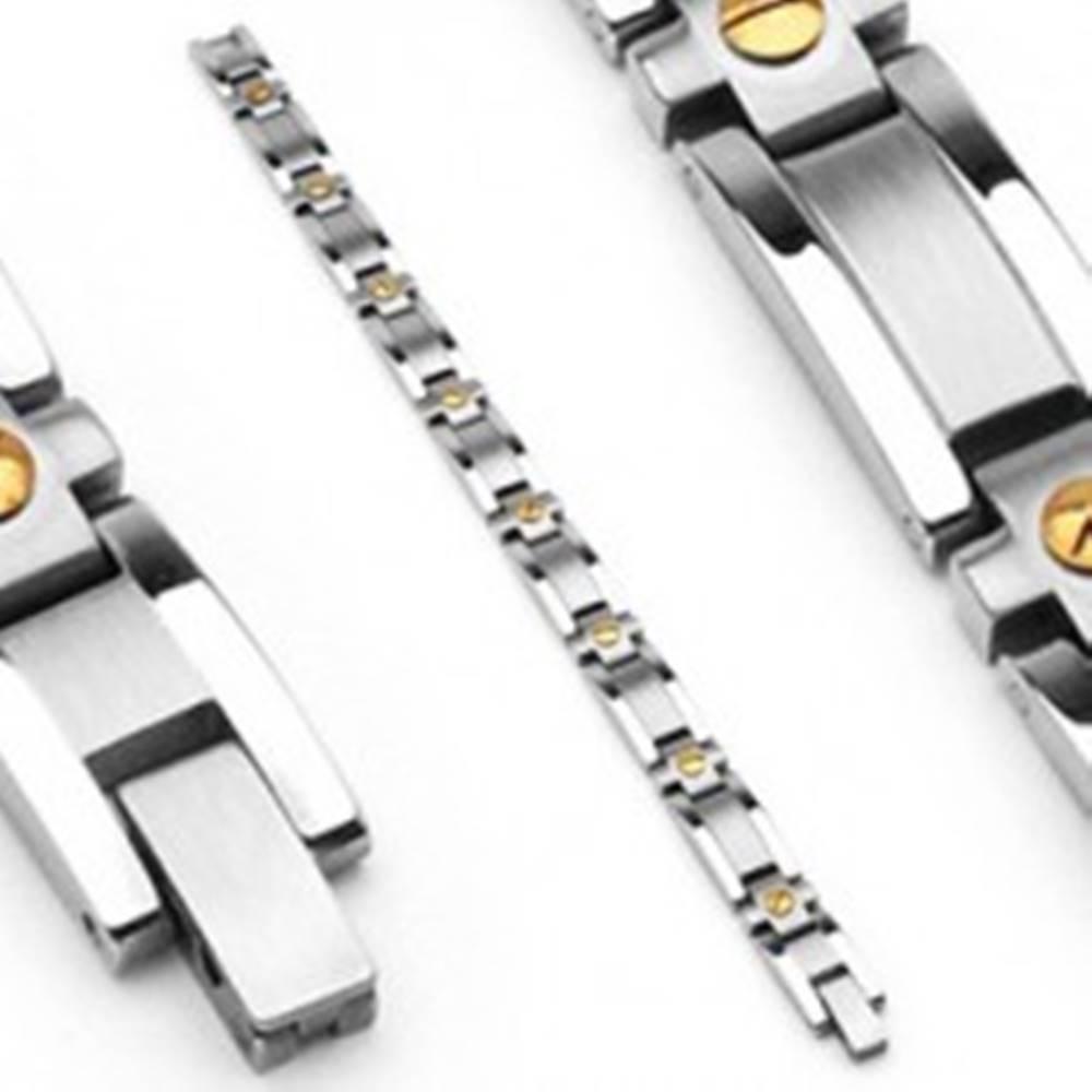 Šperky eshop Oceľový náramok so stredovým matným pruhom, dvojfarebný