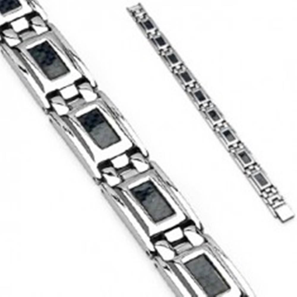 Šperky eshop Oceľový náramok striebornej farby s čiernou šachovnicou