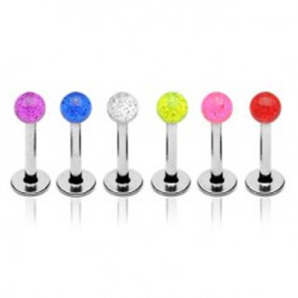 Šperky eshop Oceľový piercing do brady, priehľadná guľôčka s trblietkami vo vnútri - Farba piercing: Červená