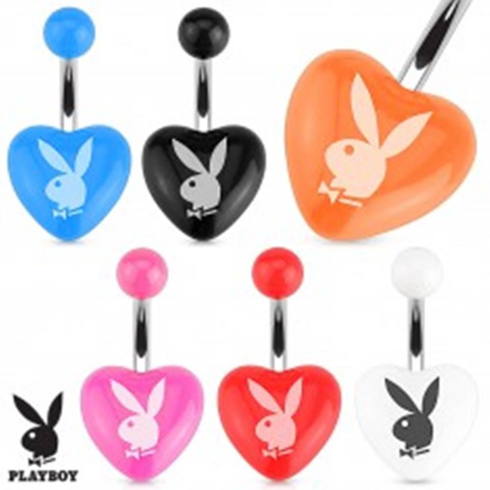 Šperky eshop Oceľový piercing do brucha, farebné akrylové srdce, zajac Playboy - Farba piercing: Biela