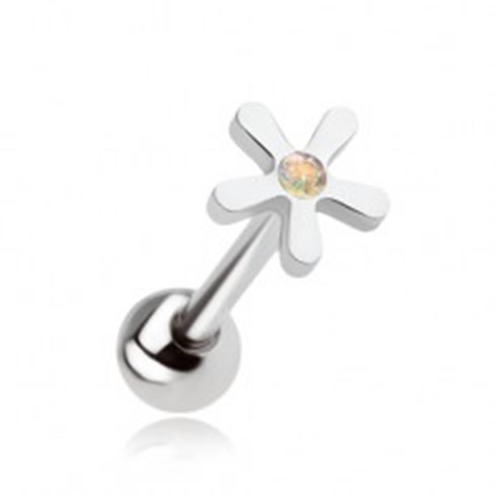 Šperky eshop Oceľový piercing do jazyka, kvet s dúhovým kamienkom